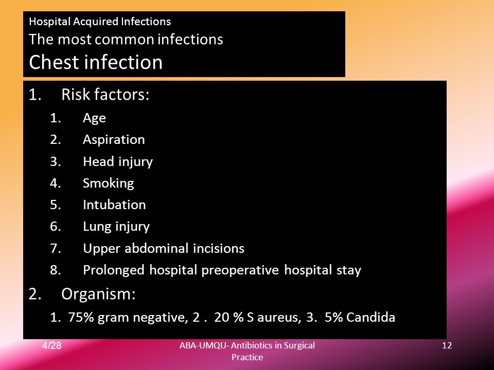 4/28ABA-UMQU- Antibiotics in Surgical Practice 12 Hospital Acquired Infections The most common infections Chest infection 1.Risk factors: 1.Age 2.Aspi