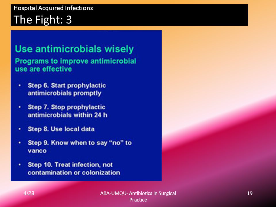 4/28ABA-UMQU- Antibiotics in Surgical Practice 19 Hospital Acquired Infections The Fight: 3