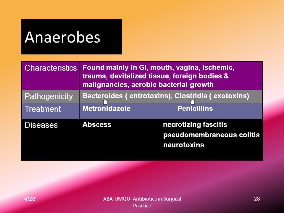 4/28ABA-UMQU- Antibiotics in Surgical Practice 28 Anaerobes Found mainly in GI, mouth, vagina, ischemic, trauma, devitalized tissue, foreign bodies &