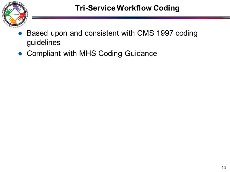 Tri-Service Workflow Coding Based upon and consistent with CMS 1997 coding guidelines Compliant with MHS Coding Guidance 13