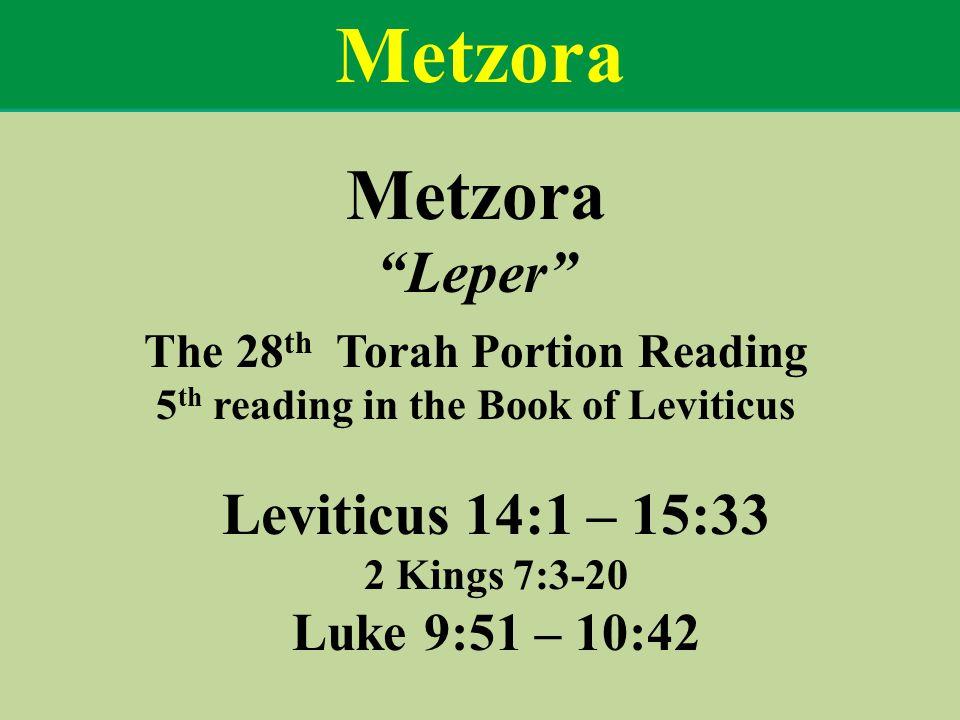 Metzora Leper The 28 th Torah Portion Reading 5 th reading in the Book of Leviticus Leviticus 14:1 – 15:33 2 Kings 7:3-20 Luke 9:51 – 10:42 Metzora