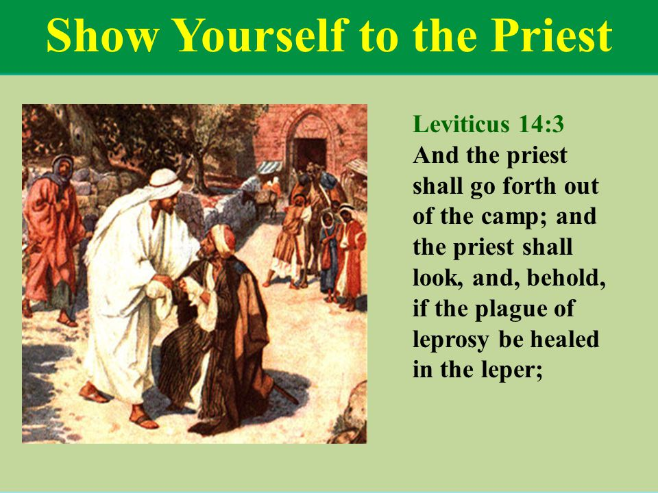 Show Yourself to the Priest Leviticus 14:3 And the priest shall go forth out of the camp; and the priest shall look, and, behold, if the plague of lep