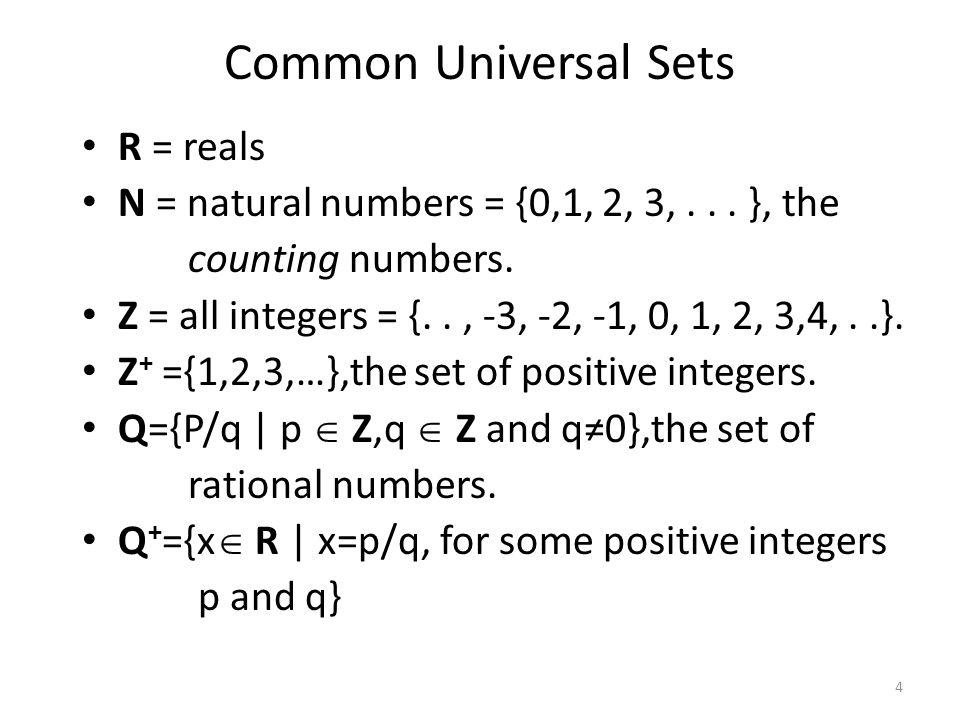 R = reals N = natural numbers = {0,1, 2, 3,... }, the counting numbers.