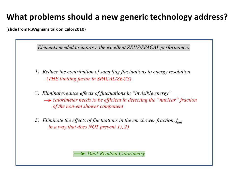 What problems should a new generic technology address? (slide from R.Wigmans talk on Calor2010)