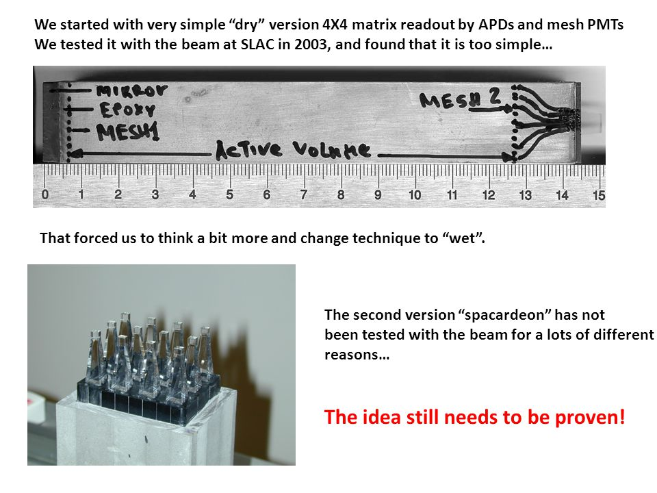 "We started with very simple ""dry"" version 4X4 matrix readout by APDs and mesh PMTs We tested it with the beam at SLAC in 2003, and found that it is to"