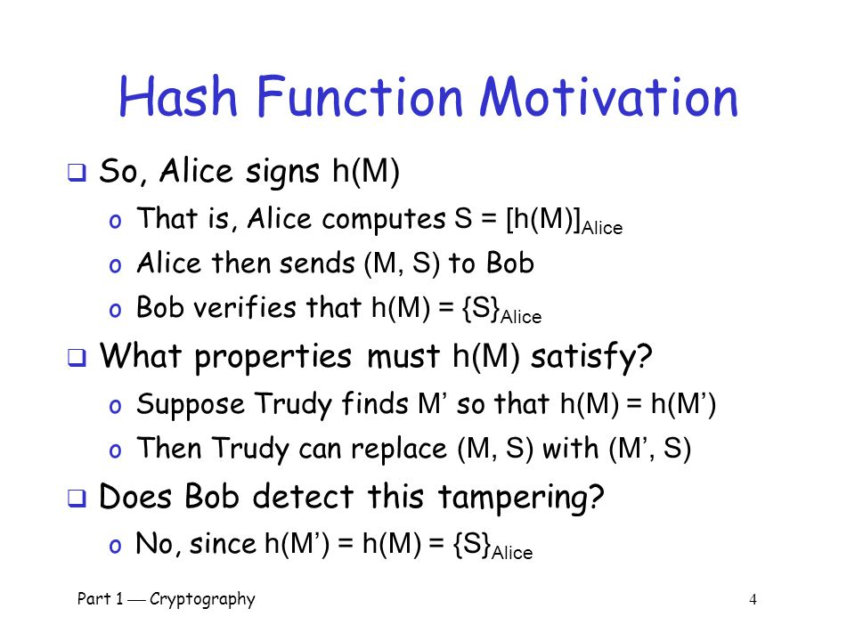 Part 1  Cryptography 3 Hash Function Motivation  Suppose Alice signs M o Alice sends M and S = [M] Alice to Bob o Bob verifies that M = {S} Alice o