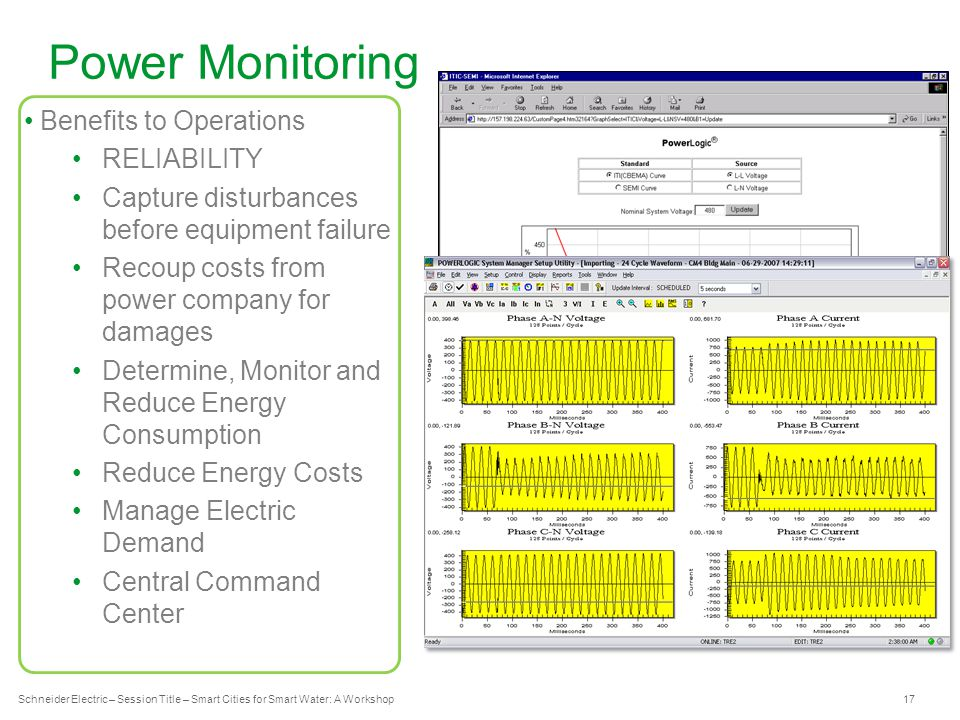 Schneider Electric 17 - Industry – Water – December 2012 Power Monitoring Schneider Electric – Session Title – Smart Cities for Smart Water: A Workshop Benefits to Operations RELIABILITY Capture disturbances before equipment failure Recoup costs from power company for damages Determine, Monitor and Reduce Energy Consumption Reduce Energy Costs Manage Electric Demand Central Command Center Computers & Process equipment should ride through events inside the envelope Events outside the envelope are severe enough to cause misoperation
