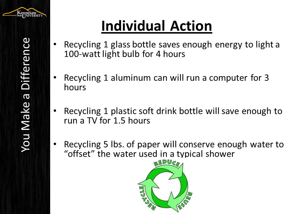 Individual Action Recycling 1 glass bottle saves enough energy to light a 100-watt light bulb for 4 hours Recycling 1 aluminum can will run a computer for 3 hours Recycling 1 plastic soft drink bottle will save enough to run a TV for 1.5 hours Recycling 5 lbs.