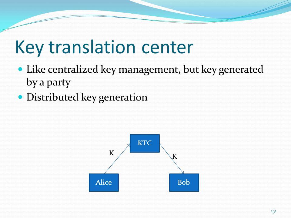 Key translation center Like centralized key management, but key generated by a party Distributed key generation 151 KTC AliceBob K K