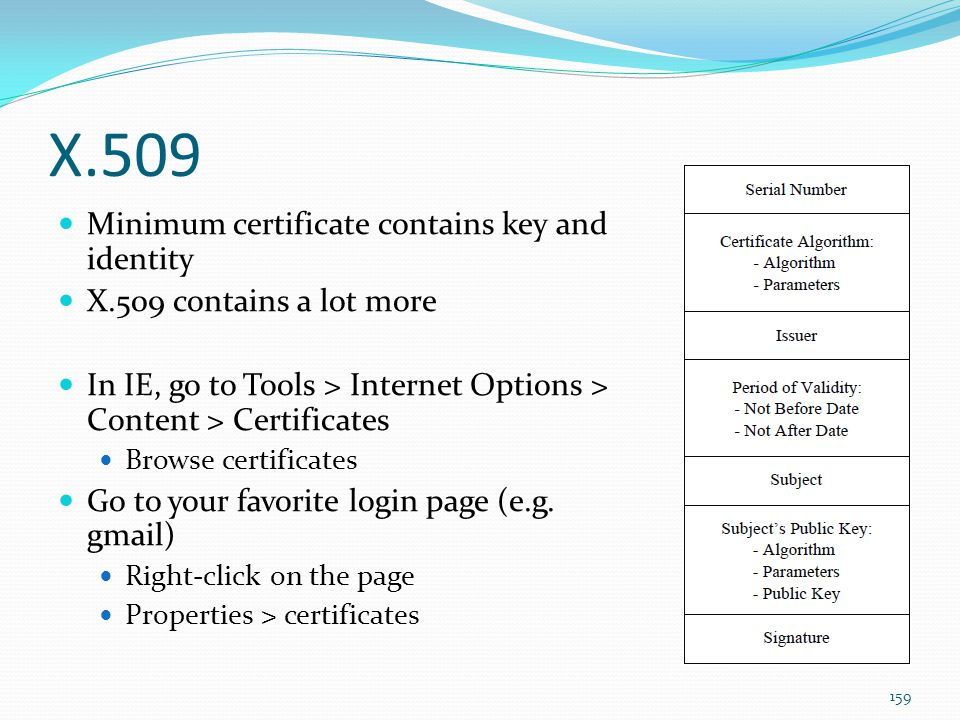 X.509 Minimum certificate contains key and identity X.509 contains a lot more In IE, go to Tools > Internet Options > Content > Certificates Browse ce