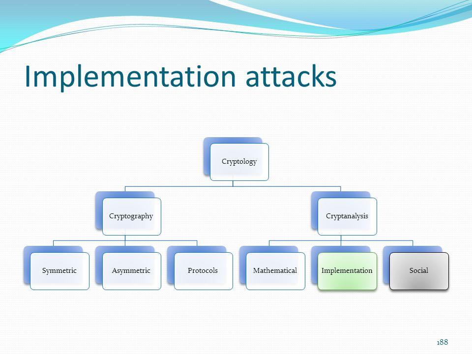 Implementation attacks CryptologyCryptographySymmetricAsymmetricProtocolsCryptanalysisMathematicalImplementationSocial 188