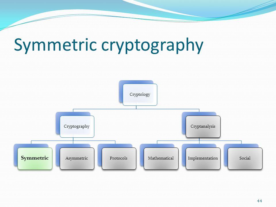 Symmetric cryptography CryptologyCryptography Symmetric AsymmetricProtocolsCryptanalysisMathematicalImplementationSocial 44