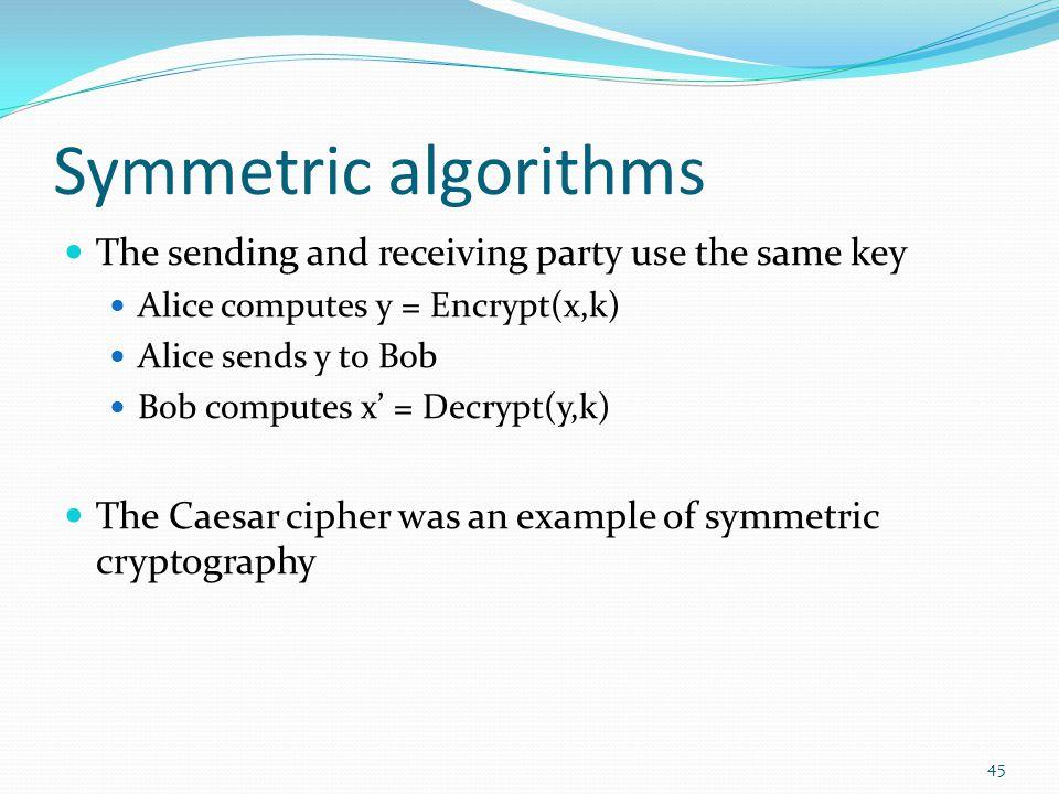 Symmetric algorithms The sending and receiving party use the same key Alice computes y = Encrypt(x,k) Alice sends y to Bob Bob computes x' = Decrypt(y
