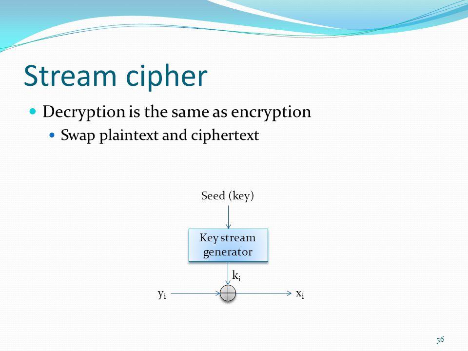 Stream cipher Decryption is the same as encryption Swap plaintext and ciphertext 56 Key stream generator Key stream generator yiyi xixi kiki Seed (key