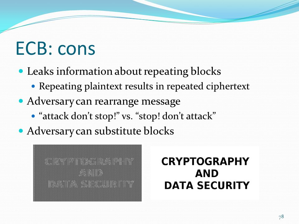 """ECB: cons Leaks information about repeating blocks Repeating plaintext results in repeated ciphertext Adversary can rearrange message """"attack don't st"""