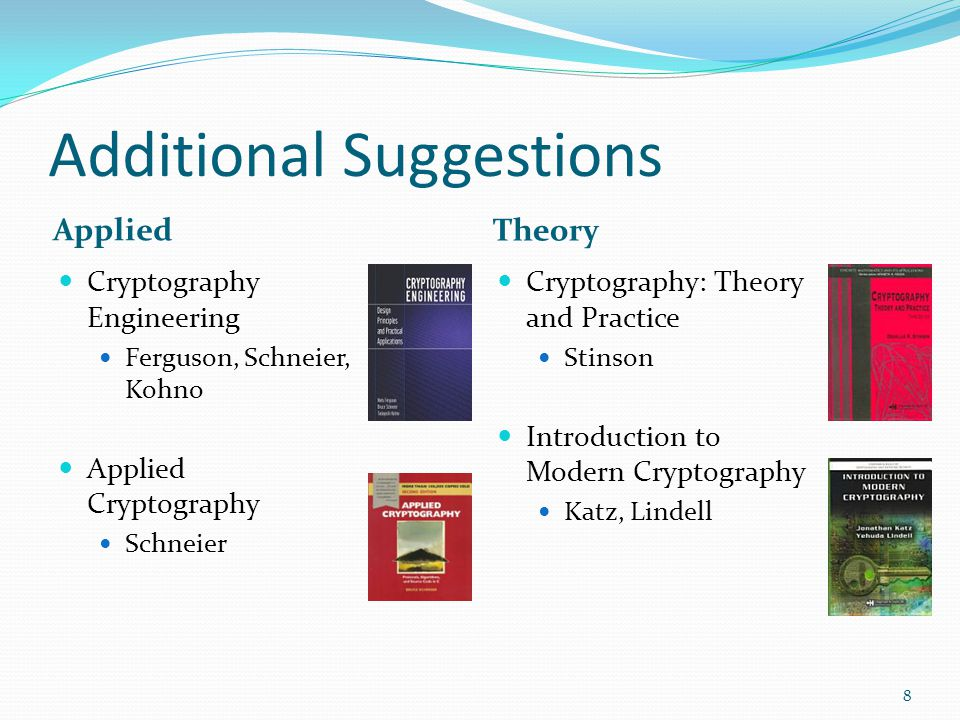 Additional Suggestions Applied Theory Cryptography Engineering Ferguson, Schneier, Kohno Applied Cryptography Schneier Cryptography: Theory and Practi