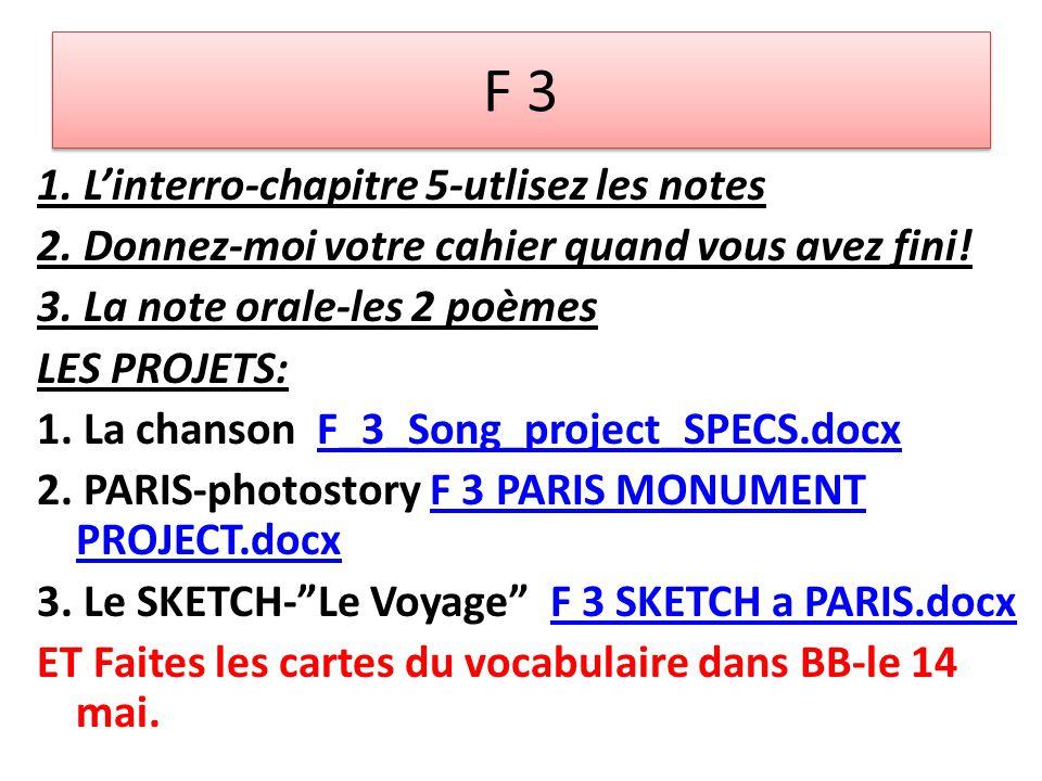 F 3 1. L'interro-chapitre 5-utlisez les notes 2. Donnez-moi votre cahier quand vous avez fini.