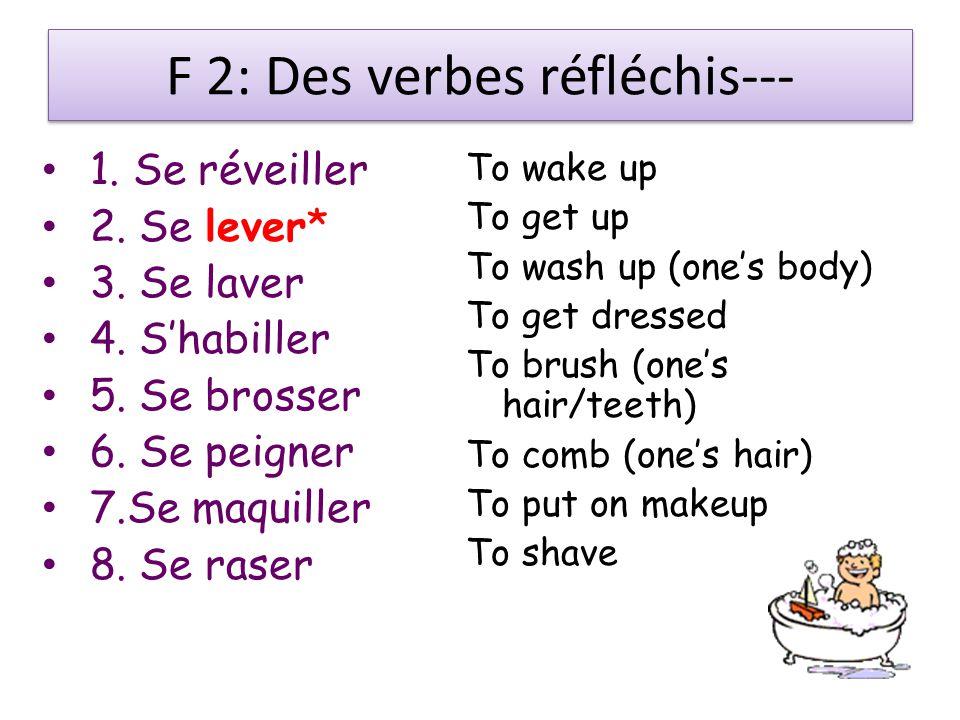 F 2: Des verbes réfléchis--- 1. Se réveiller 2. Se lever* 3.