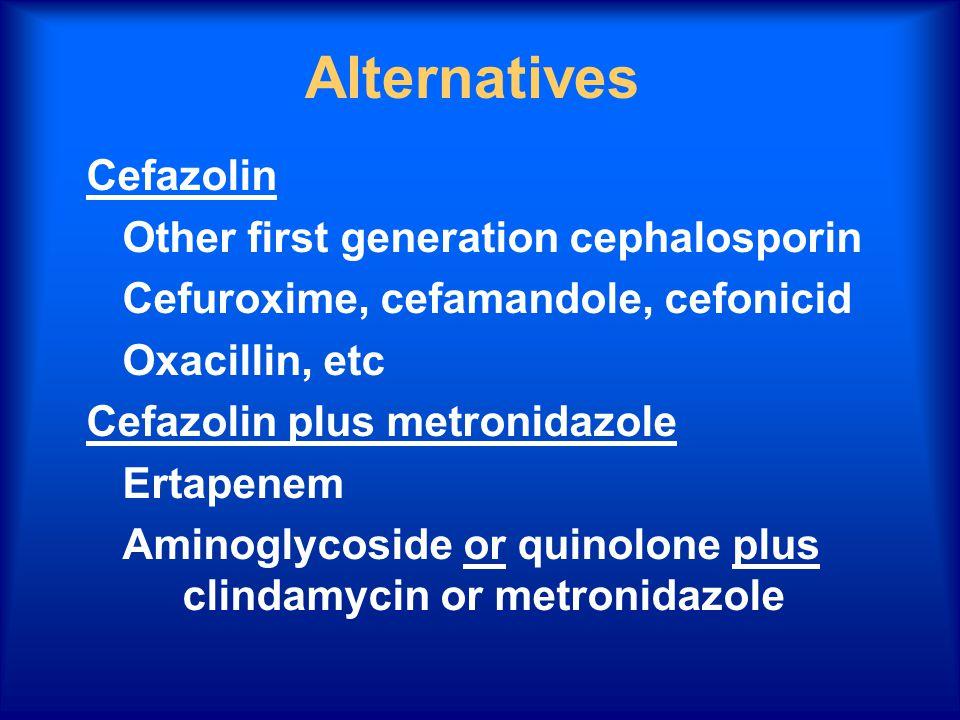 Alternatives Cefazolin Other first generation cephalosporin Cefuroxime, cefamandole, cefonicid Oxacillin, etc Cefazolin plus metronidazole Ertapenem Aminoglycoside or quinolone plus clindamycin or metronidazole