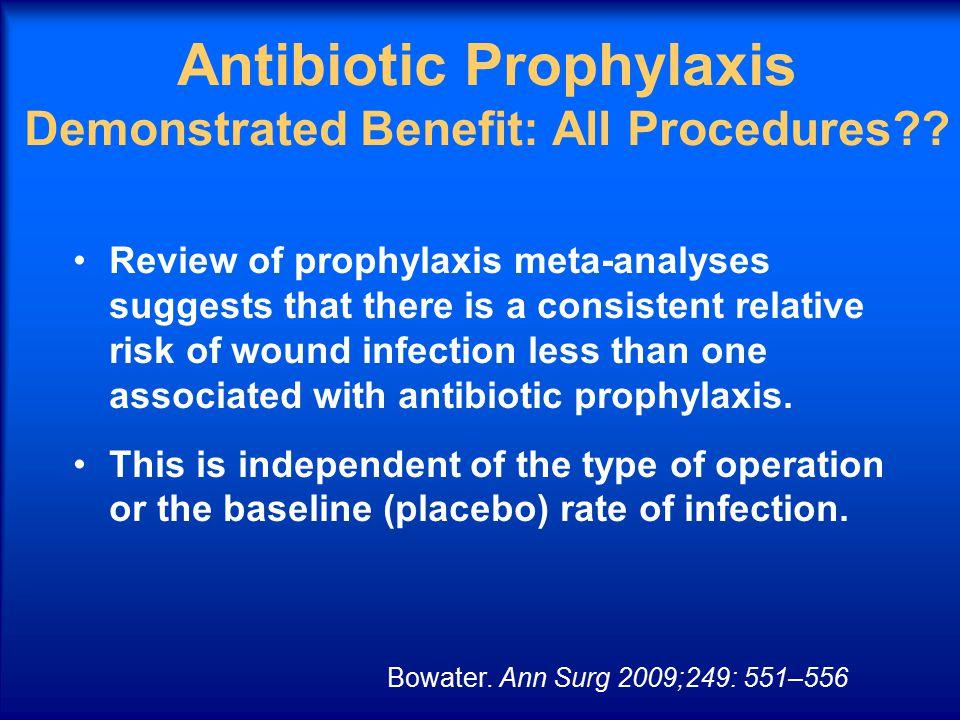 Antibiotic Prophylaxis Demonstrated Benefit: All Procedures .