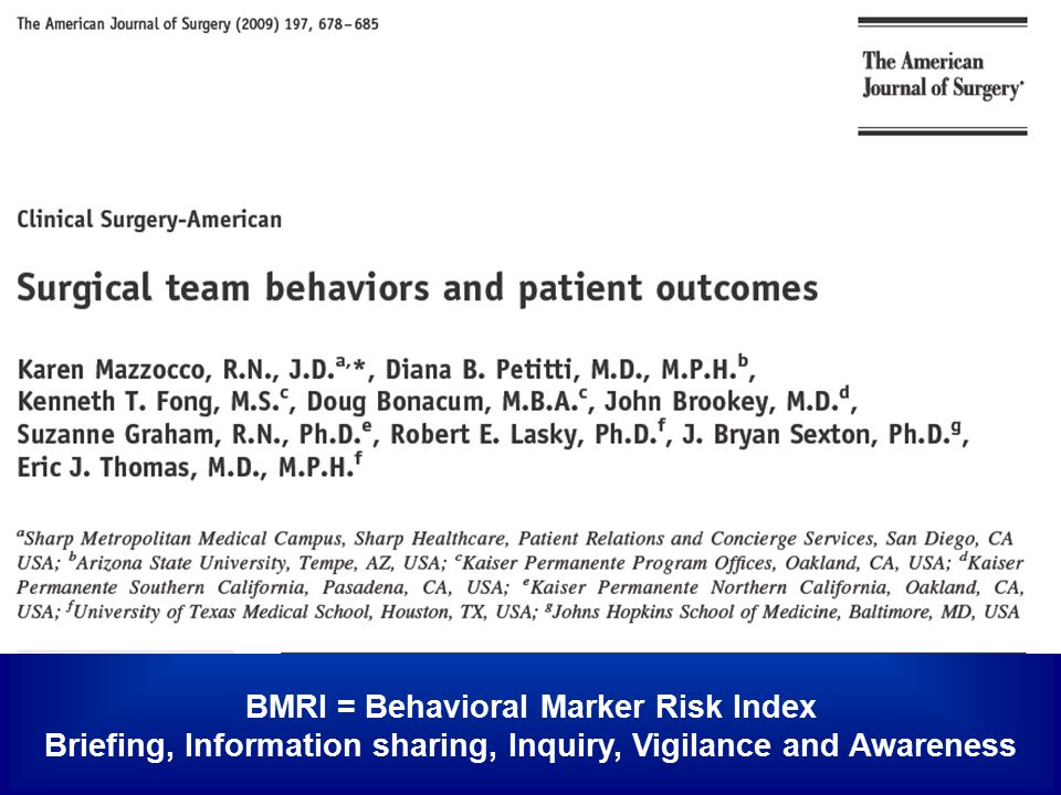 BMRI = Behavioral Marker Risk Index Briefing, Information sharing, Inquiry, Vigilance and Awareness