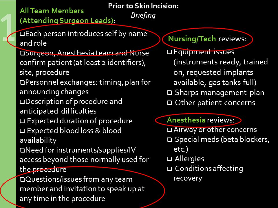 Prior to Skin Incision: Briefing Nursing/Tech reviews:  Equipment issues (instruments ready, trained on, requested implants available, gas tanks full