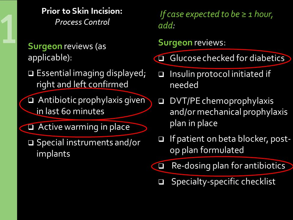 Prior to Skin Incision: Process Control If case expected to be ≥ 1 hour, add: Surgeon reviews:  Glucose checked for diabetics  Insulin protocol initiated if needed  DVT/PE chemoprophylaxis and/or mechanical prophylaxis plan in place  If patient on beta blocker, post- op plan formulated  Re-dosing plan for antibiotics  Specialty-specific checklist Surgeon reviews (as applicable):  Essential imaging displayed; right and left confirmed  Antibiotic prophylaxis given in last 60 minutes  Active warming in place  Special instruments and/or implants
