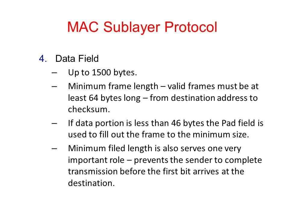 MAC Sublayer Protocol 4.Data Field – Up to 1500 bytes.