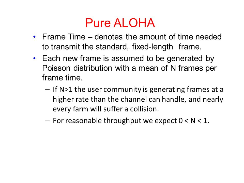 Pure ALOHA Frame Time – denotes the amount of time needed to transmit the standard, fixed-length frame. Each new frame is assumed to be generated by P