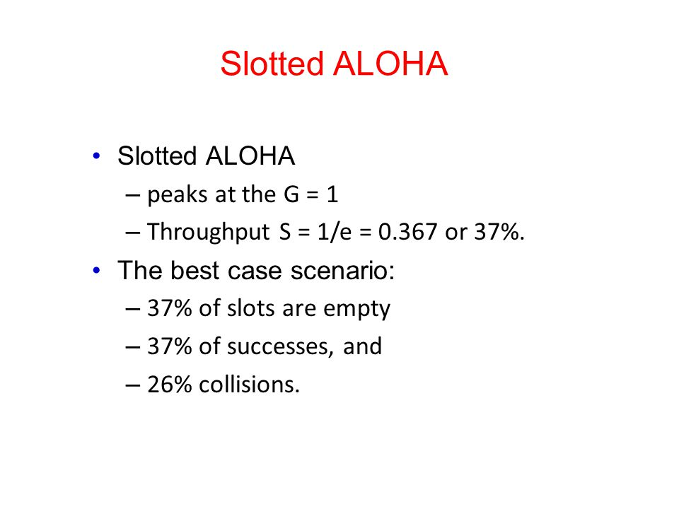 Slotted ALOHA – peaks at the G = 1 – Throughput S = 1/e = 0.367 or 37%.