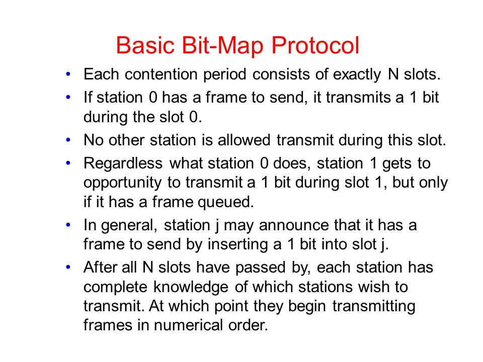 Basic Bit-Map Protocol Each contention period consists of exactly N slots.