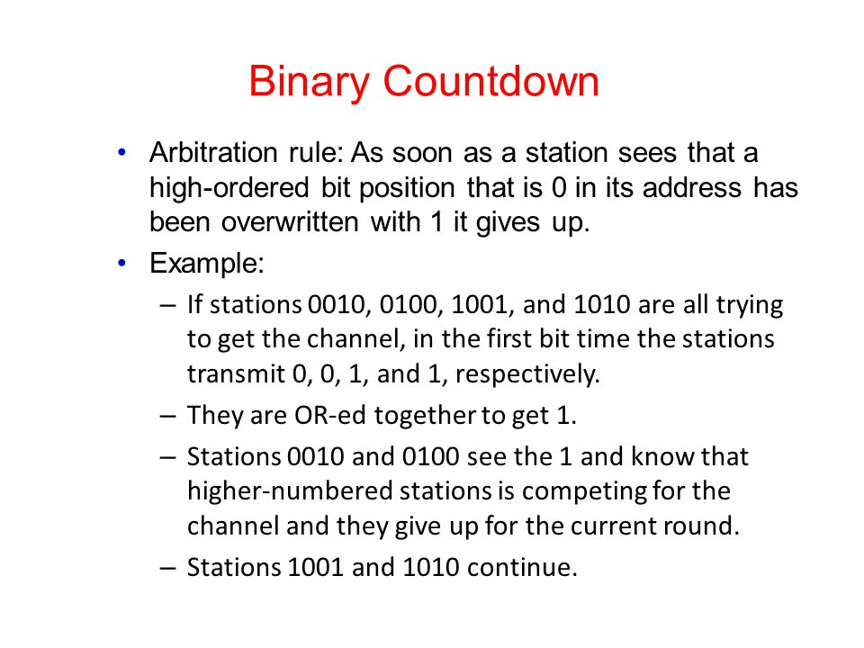 Binary Countdown Arbitration rule: As soon as a station sees that a high-ordered bit position that is 0 in its address has been overwritten with 1 it