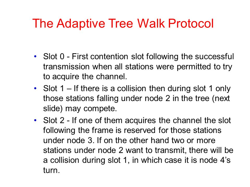 The Adaptive Tree Walk Protocol Slot 0 - First contention slot following the successful transmission when all stations were permitted to try to acquir
