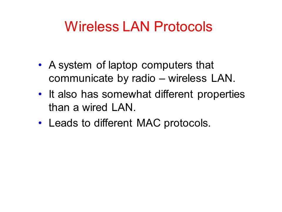 Wireless LAN Protocols A system of laptop computers that communicate by radio – wireless LAN.