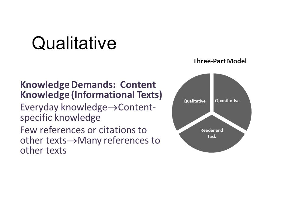 Qualitative Knowledge Demands: Content Knowledge (Informational Texts) Everyday knowledge  Content- specific knowledge Few references or citations to other texts  Many references to other texts