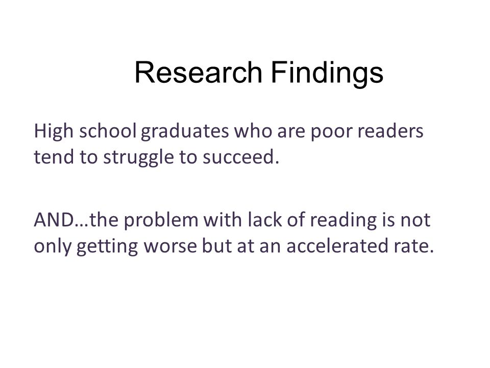Research Findings Reading occupies only about 2% of class time in most high schools.