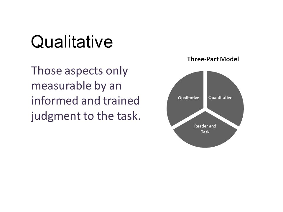 Qualitative Those aspects only measurable by an informed and trained judgment to the task.