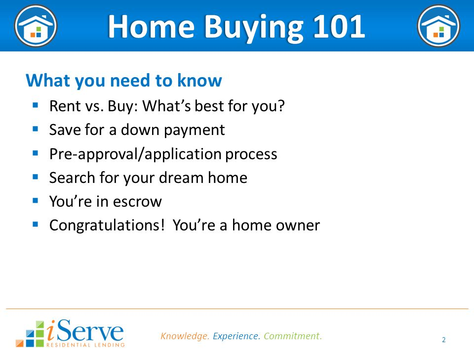 2 Home Buying 101Home Buying 101 What you need to know  Rent vs. Buy: What's best for you?  Save for a down payment  Pre-approval/application proce