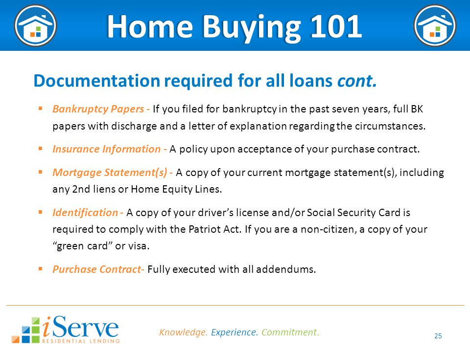 25 Home Buying 101Home Buying 101 Documentation required for all loans cont.  Bankruptcy Papers - If you filed for bankruptcy in the past seven years