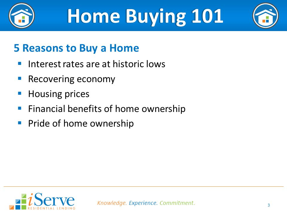 3 Home Buying 101 Home Buying 101 5 Reasons to Buy a Home  Interest rates are at historic lows  Recovering economy  Housing prices  Financial benefits of home ownership  Pride of home ownership Knowledge.