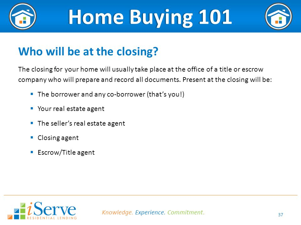 37 Home Buying 101Home Buying 101 Who will be at the closing.