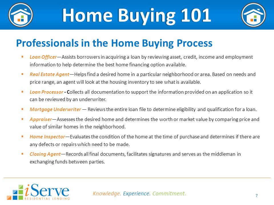7 Home Buying 101Home Buying 101 Professionals in the Home Buying Process  Loan Officer—Assists borrowers in acquiring a loan by reviewing asset, credit, income and employment information to help determine the best home financing option available.