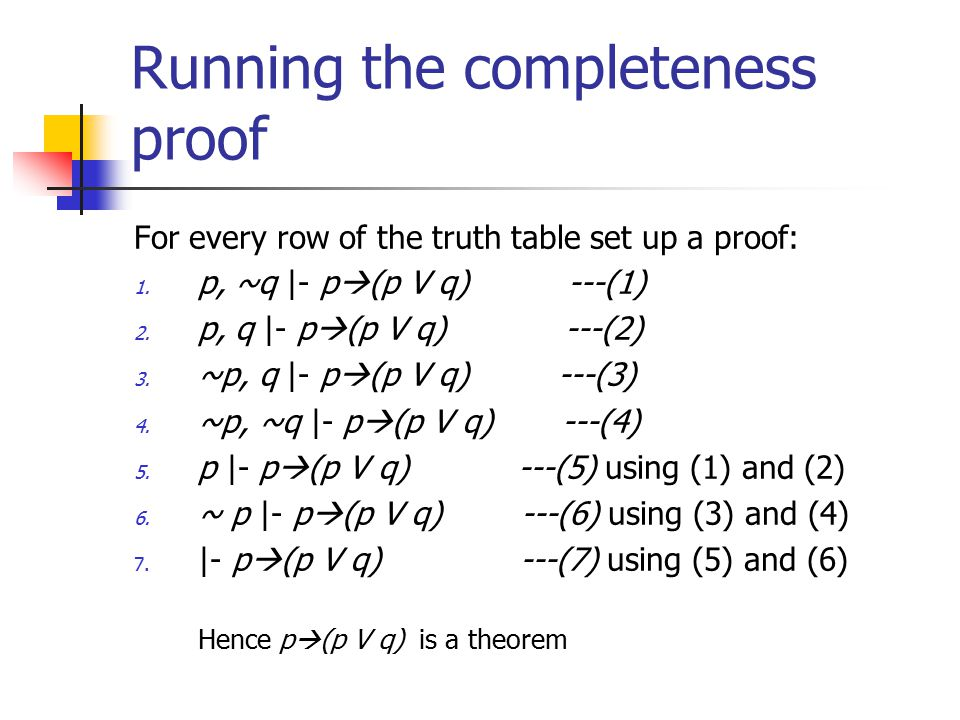 Running the completeness proof For every row of the truth table set up a proof: 1.