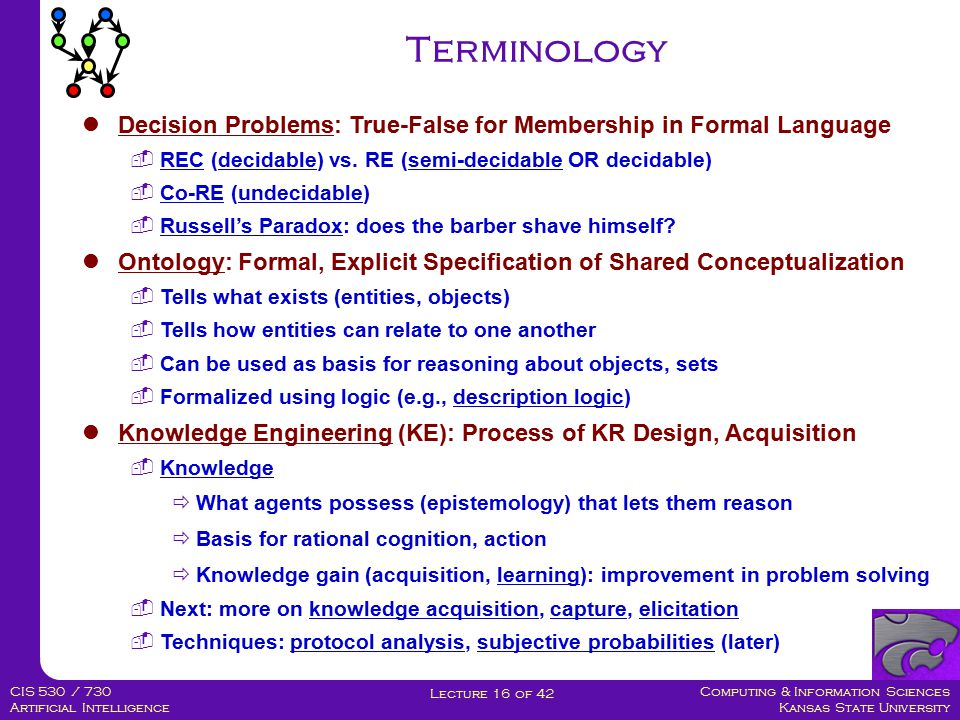 Computing & Information Sciences Kansas State University Lecture 16 of 42 CIS 530 / 730 Artificial Intelligence Why Description Logic.
