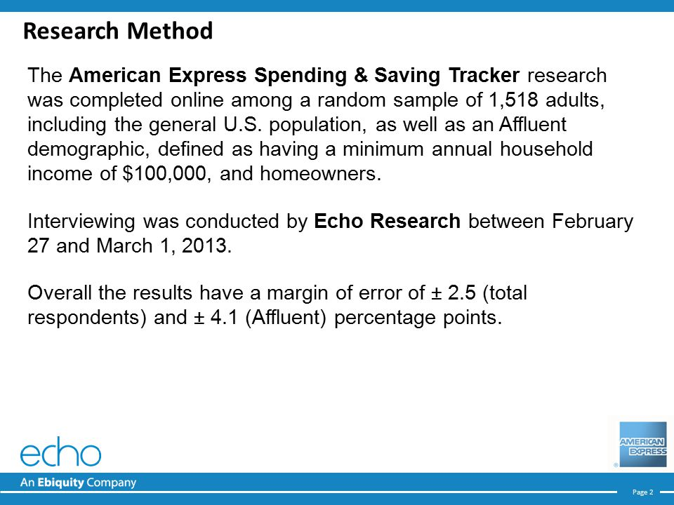 Page 2 Research Method The American Express Spending & Saving Tracker research was completed online among a random sample of 1,518 adults, including the general U.S.