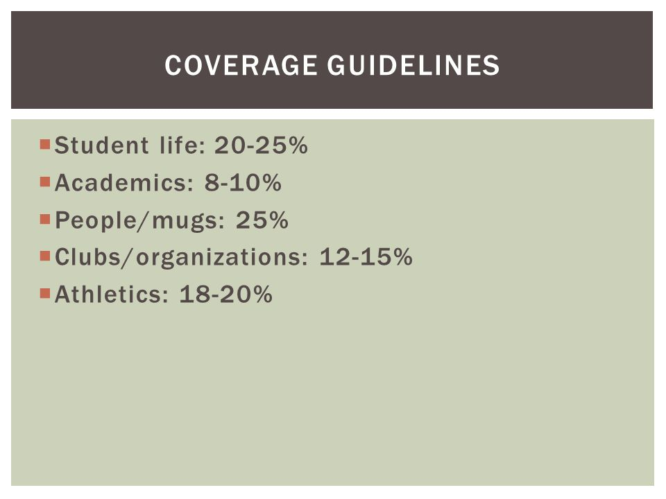  Student life: 20-25%  Academics: 8-10%  People/mugs: 25%  Clubs/organizations: 12-15%  Athletics: 18-20% COVERAGE GUIDELINES