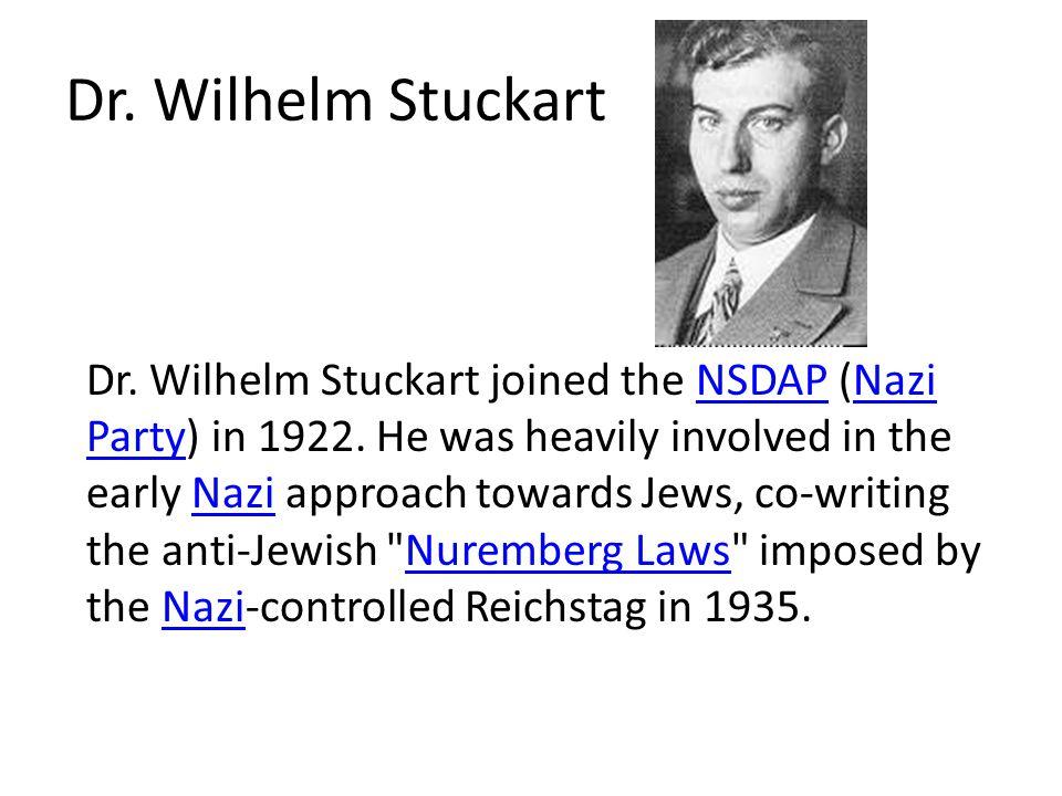 Dr. Wilhelm Stuckart Dr. Wilhelm Stuckart joined the NSDAP (Nazi Party) in 1922.