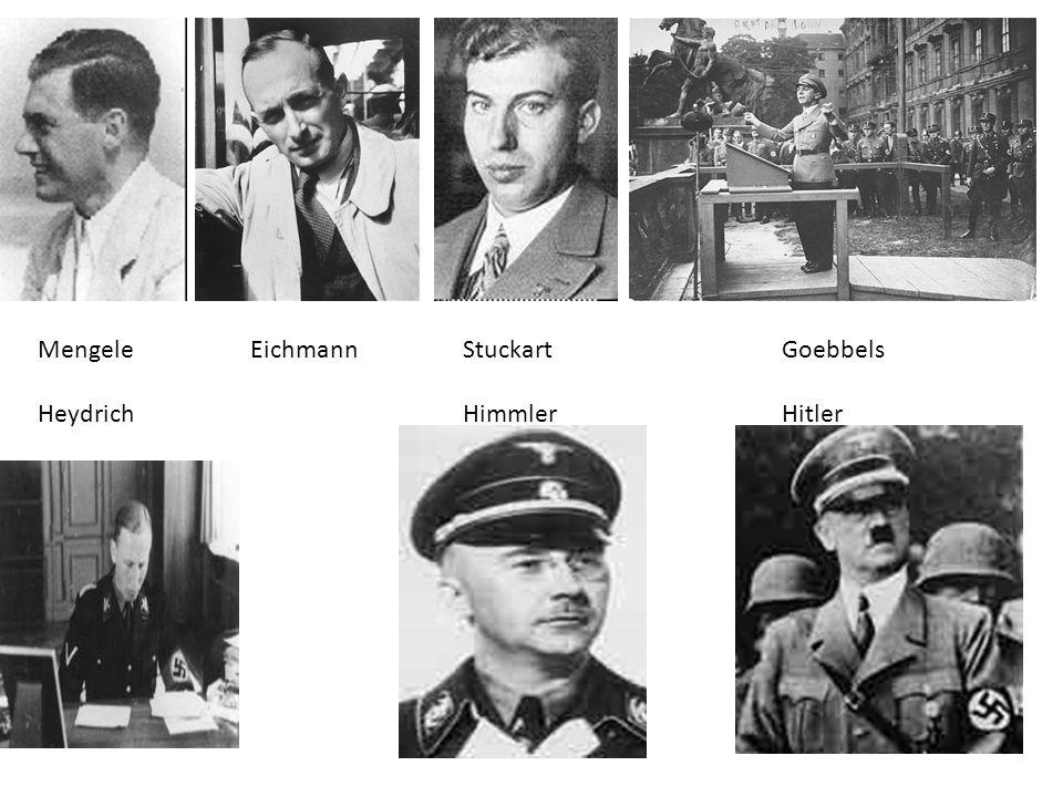 MengeleEichmannStuckartGoebbels HeydrichHimmlerHitler