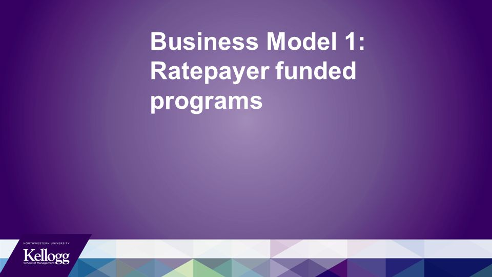 Business Model 1: Ratepayer funded programs
