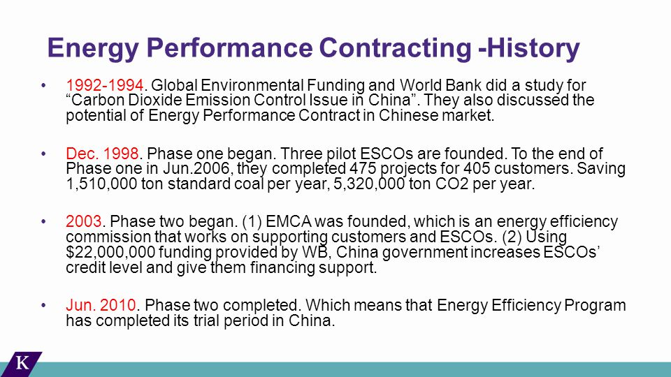 Energy Performance Contracting -History 1992-1994.